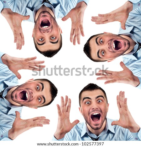 Portrait of angry businessman screaming out loud at someone,  concept of executive yelling, conversation problem communication crisis,anger,frustration.Isolated on white background - stock photo