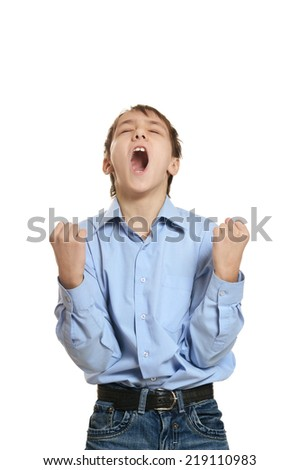 Portrait of angry little boy on a white background  - stock photo