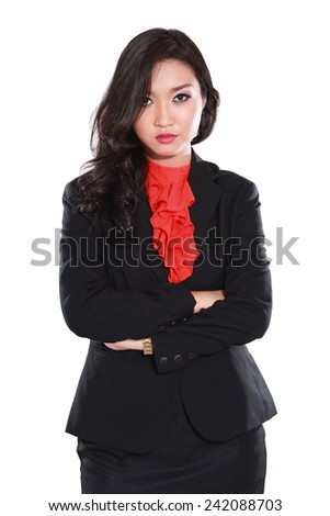 Portrait of angry young businesswoman isolated on white background - stock photo