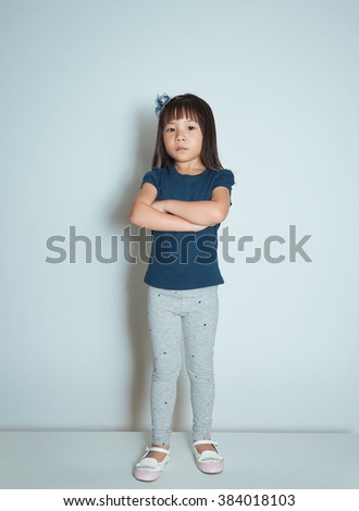 Portrait of angry young little Asian girl. - stock photo