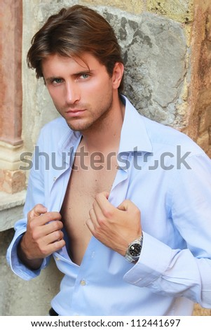 portrait of appealing young man - stock photo