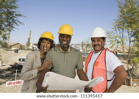 Portrait of architect and couple with blueprint discussing at construction site - stock photo