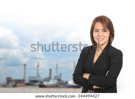 Portrait of asia business woman 30 - 40 year old has oil industry .Mixed Asian / Caucasian businesswoman.Positive emotion - stock photo