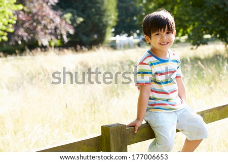 Portrait Of  Asian Boy Sitting On Fence In Countryside - stock photo