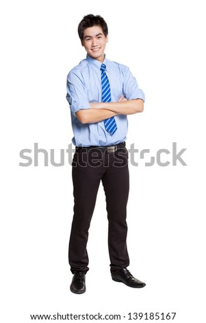 Portrait of Asian businessman on white background. - stock photo