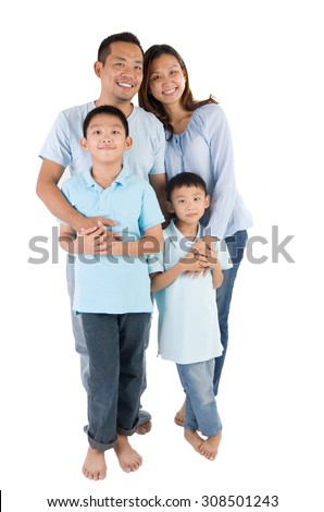 portrait of asian family isolated on white - stock photo