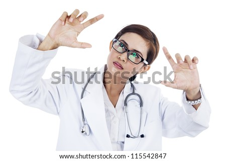Portrait of asian female doctor with hand gesture. isolated on white - stock photo