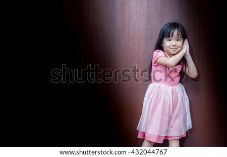 Portrait of Asian happy little girl , sleep - stock photo