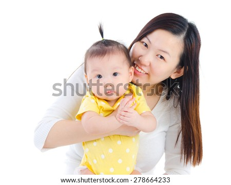 Portrait of asian mother and baby - stock photo