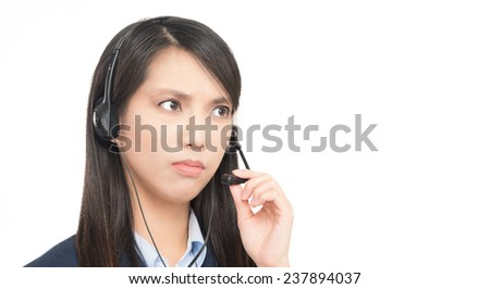 Portrait of asian woman customer service worker, call center thinking operator with phone headset isolated on white background. - stock photo