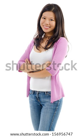 Portrait of Asian woman smiling and standing isolated over white background. - stock photo