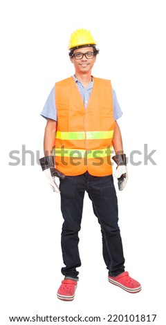 portrait of asian worker man wearing safety jacket hard hat and leather hand glove protection isolated white background - stock photo