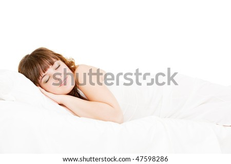 portrait of asleep lovely woman. isolated on white - stock photo