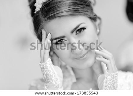 Portrait of attractive bride - stock photo