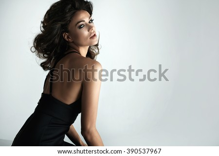 Portrait of attractive brunette girl - stock photo