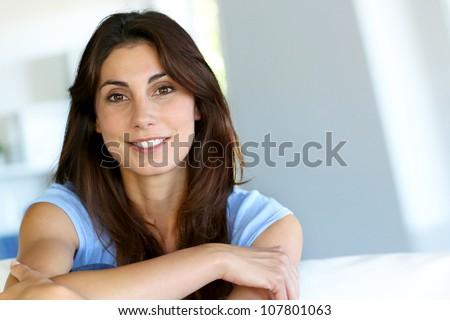 Portrait of attractive brunette woman - stock photo