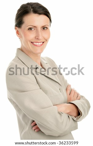 Portrait of attractive businesswoman with arms crossed isolated on white background - stock photo