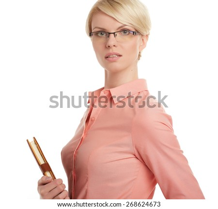 portrait of attractive caucasian businesswoman isolated on white studio - stock photo