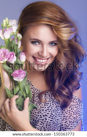 portrait of attractive caucasian smiling woman - stock photo
