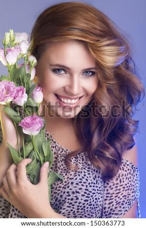 portrait of attractive caucasian smiling woman - stock photo