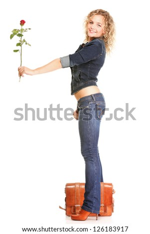 portrait of attractive caucasian smiling woman blond isolated on white studio shot in red rose - stock photo