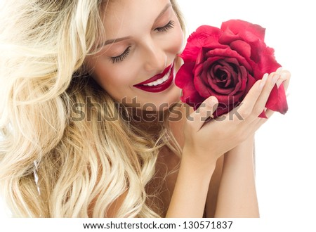 portrait of attractive  caucasian smiling woman blond isolated on white studio shot red rose lips toothy smile face long hair head and shoulders eyes closed - stock photo