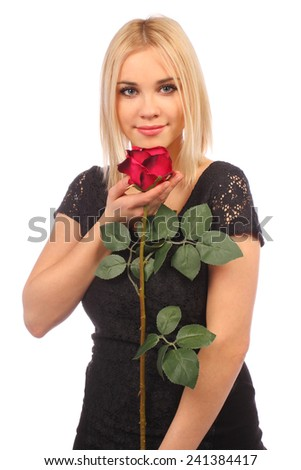 portrait of attractive caucasian smiling woman blond isolated on white studio shot with red rose - stock photo