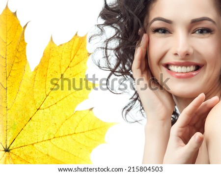 portrait of attractive caucasian smiling woman brunette isolated on white - stock photo