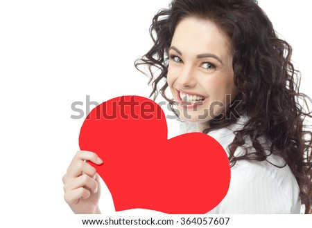 portrait of attractive  caucasian smiling woman brunette isolated on white studio shot red heart valentine's love - stock photo