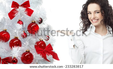 portrait of attractive  caucasian smiling woman isolated on white  - stock photo