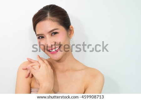 portrait of attractive caucasian smiling woman isolated on white studio shot - stock photo