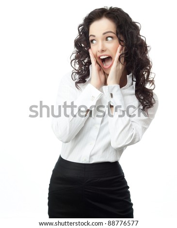 portrait of attractive  caucasian smiling woman isolated on white studio shot at - stock photo