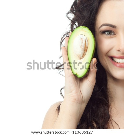 portrait of attractive  caucasian smiling woman isolated on white studio shot avocado - stock photo