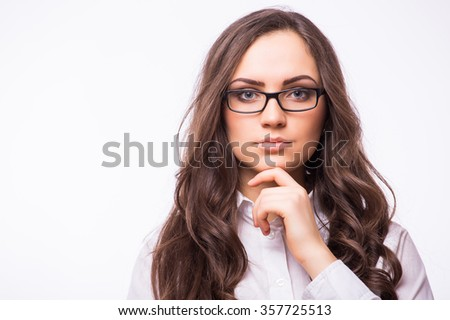 portrait of attractive caucasian smiling woman isolated on white studio shot looking at camera. With hand near face - thinking position. - stock photo