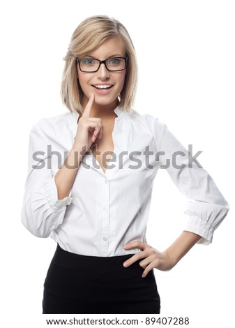 portrait of attractive  caucasian smiling woman isolated on white studio shot looking at camera wearing glasses - stock photo