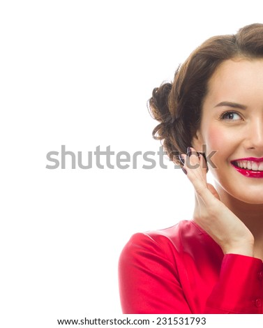 portrait of attractive  caucasian smiling young woman brunette, isolated on white , studio shot, red , toothy smile, face, hands near the face - stock photo