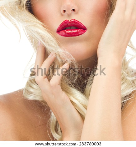 portrait of attractive  caucasian  woman blond isolated on white studio shot red lips  face long hair head and shoulders looking at camera - stock photo