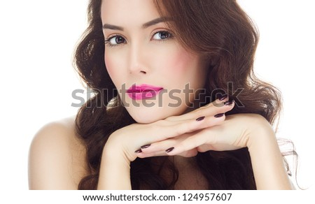 portrait of attractive  caucasian  woman brunette isolated on white studio shot - stock photo