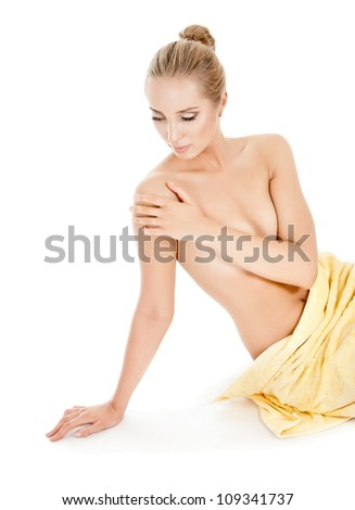 portrait of attractive caucasian woman with towel - stock photo