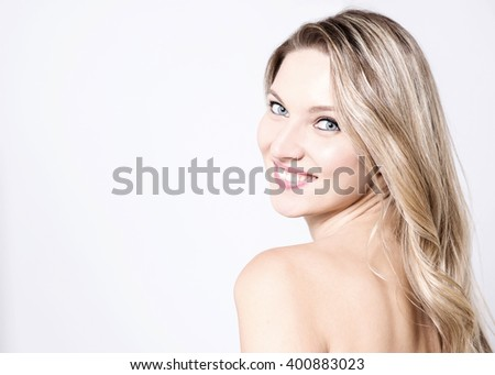 Portrait  of attractive lady  turning back - stock photo