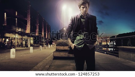 Portrait of attractive man - stock photo