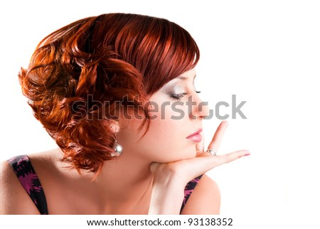portrait of attractive red haired young woman - stock photo