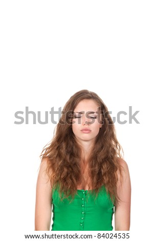 portrait of attractive sad teenage girl cry closed eyes, isolated over white background - stock photo