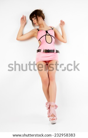 Portrait of attractive sexy women in pink dress.  - stock photo