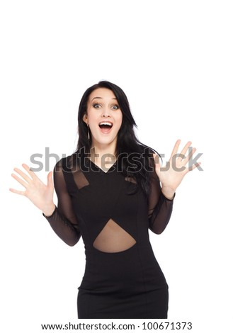 portrait of attractive smile excited woman holding hands palms up, isolated over white background concept of happy, pretty winning success girl - stock photo