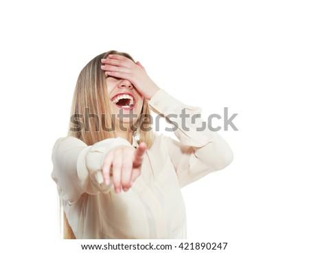portrait of attractive smile laugh teenage girl - stock photo