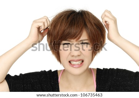 portrait of attractive surprised excited scared, - stock photo
