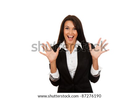portrait of attractive surprised excited smile business woman hold hands open palms, isolated over white background - stock photo