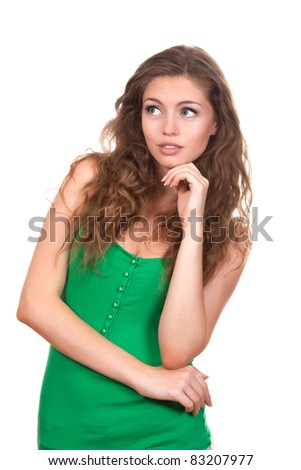 portrait of attractive teenage girl think looking up, wear green shirt, brown long hair, isolated over white background concept of pondering thoughtful student, young pretty woman - stock photo
