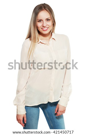 portrait of attractive teenager girl smiling in cheerful mood - stock photo